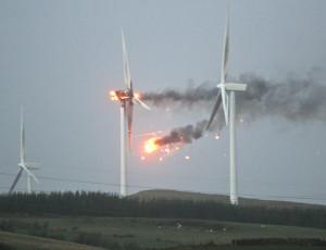 burning wind turbine